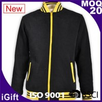 black zip up with yellow zipper