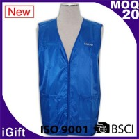 blue vest zipper workwear with logo