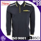 wholesale cotton polyester bule color long sleeve polo shirt for sale