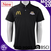 2016 customized popular black handwork embroidery design polo
