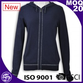 Women navy zip up patch hoodies