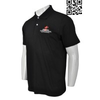 Print Plain Black Polo Shirt Mens