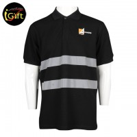 patterned black Polo with reflective strip