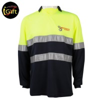 navy blue and fluorescent green polo with reflective strip