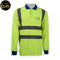 blue collar light green polo shirt with reflective strips