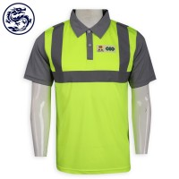 Fluorescent green polo shirt with grey strips