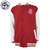 Design contrasting colour sleeve baseball jacket supply straight sleeve snap button baseball jacket baseball jacket hk centre