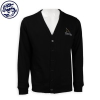 Making Black Cardigan Sweater Embroidered Logo Knit Jacket Cold Jacket Manufacturer