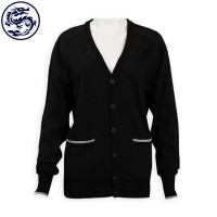 Making V-neck Knit Cardigan Jacket 2/32s100% Cotton 277G Cold Jacket Supplier