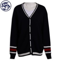 Design Contrast Sleeve Cardigan V-neck Jacket 2/32 Cotton 545G Cool Jacket Manufacturer