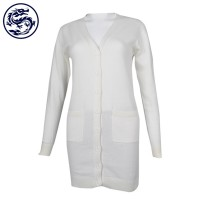 Customized V-neck Women's Open Chest Jacket Medium Long 100% Cotton Cool Jacket Supplier