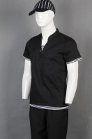 Make black short-sleeved chef uniforms