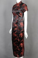Design Chinese knot button knee-length cheongsam hotel catering uniform