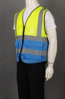 Order fluorescent yellow-blue mosaic V-neck coat industrial uniform online