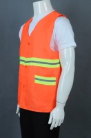 Customized orange button V-neck industrial uniform